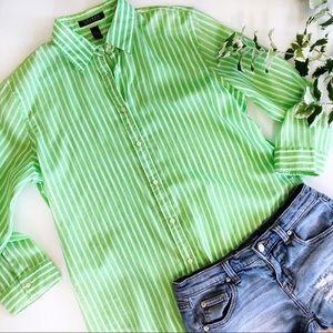 Lauren Ralph Lauren Stripe Button Down Shirt Green